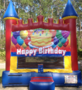 Happy Birthday Red Blue Yellow Castle bounce house rental in St Augustine, FL